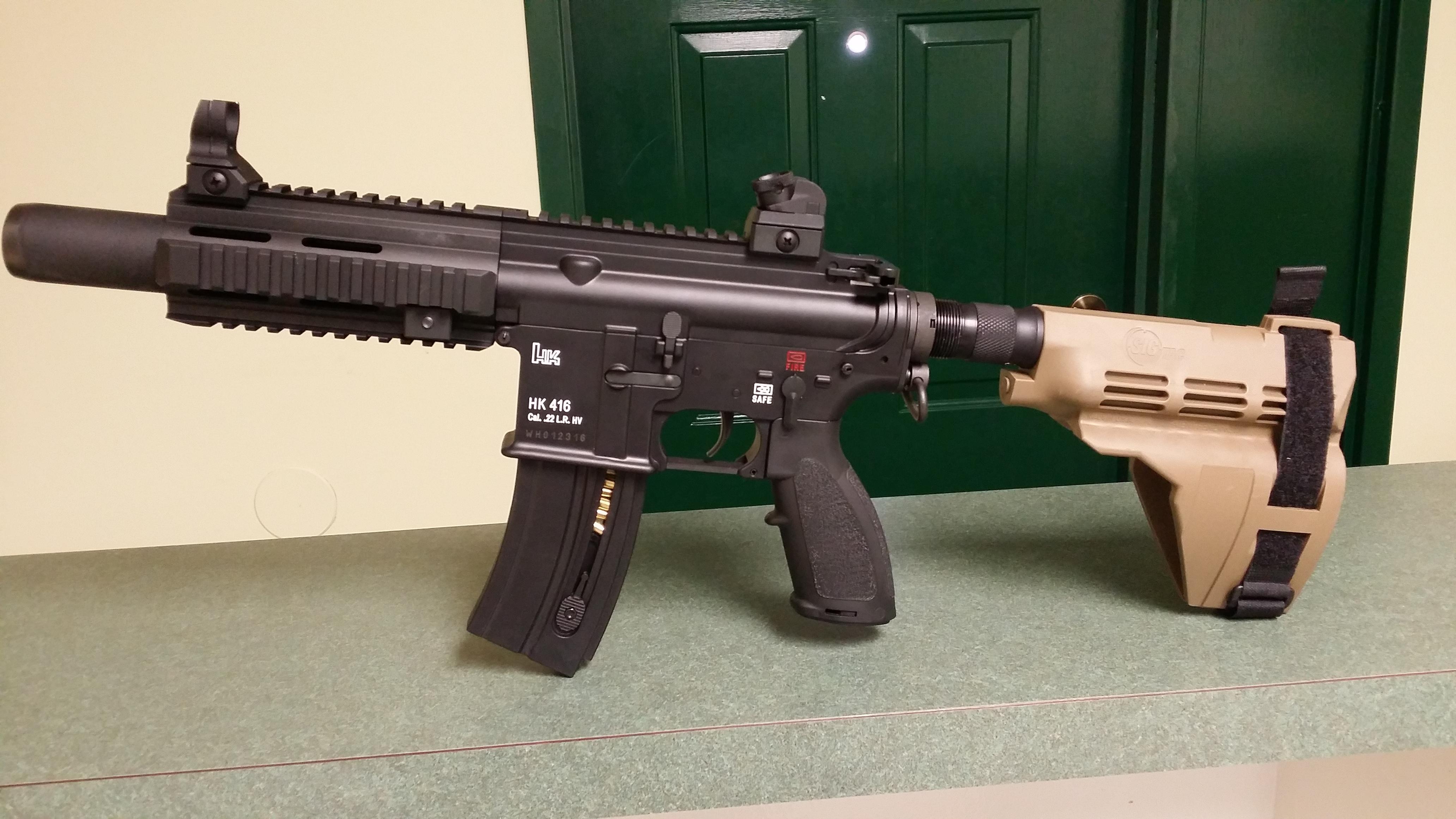 HK 416 22lr Pistol with SigTac Brace      Installation